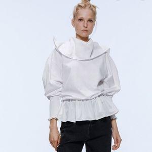 NWT Zara Cowl Neck Rare White Top